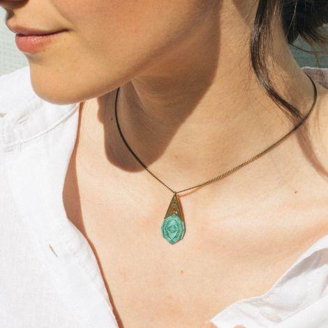 KALEIDOSCOPE blue wood necklace
