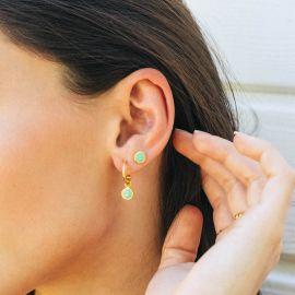 CONFETTIS boucles d'oreilles petites créoles vertes - Olivolga