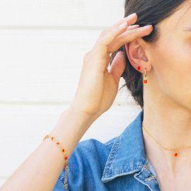 CONFETTIS bracelet chaine fermoir mousqueton tangerine - Olivolga