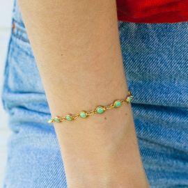 CONFETTIS bracelet chaine fermoir mousqueton vert - Olivolga