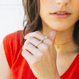 CONFETTIS 1 disc ring (green) - Olivolga Bijoux