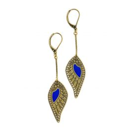 Boucles d'oreilles chaînes Douce Plume Bleu Klein - Amélie Blaise