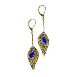 Klein Blue Douce Plume chain earrings - Amélie Blaise