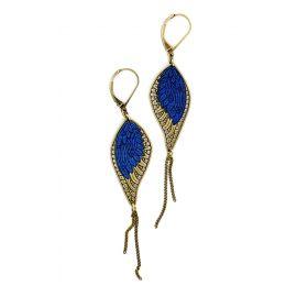 Boucles d'oreilles bois Douce Plume Bleu Klein - Amélie Blaise