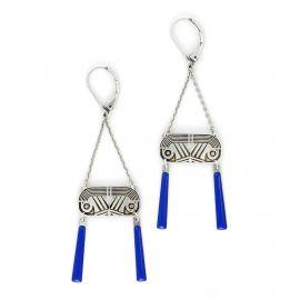 Earrings Tiger Eye Blue - Amélie Blaise