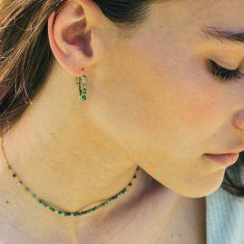 BONHEUR boucles d'oreilles créoles turquoise - Olivolga