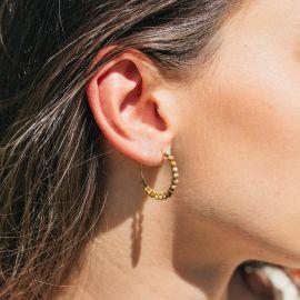 BONHEUR boucles d'oreilles créoles mini perles jaspe - Olivolga