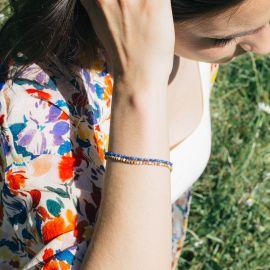 BONHEUR bracelet lapis lazuli fermoir bouton - Olivolga Bijoux