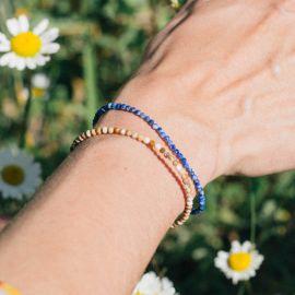BONHEUR bracelet jaspe paysager fermoir bouton - Olivolga
