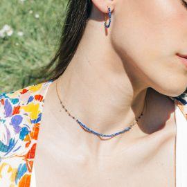 BONHEUR collier court mini perles lapis lazuli - Olivolga Bijoux