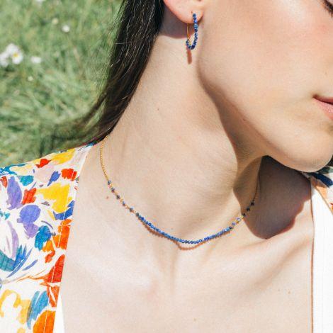 BONHEUR lapiz lazuli short necklace