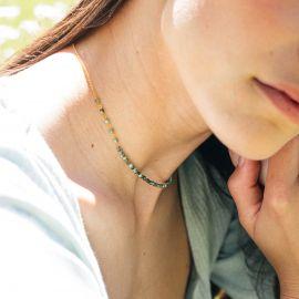 BONHEUR collier court mini perles turquoise - Olivolga Bijoux