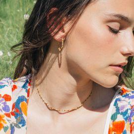 BONHEUR collier court mini perles jaspe - Olivolga