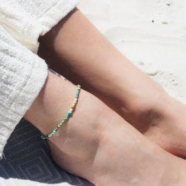 SUMMER bracelet de cheville mini perles Turquoise - Olivolga