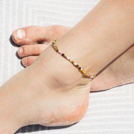 SUMMER bracelet de cheville mini perles Rose - Olivolga