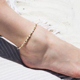 SUMMER mini beads anklet bracelet White - Olivolga