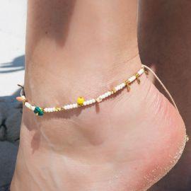 SUMMER bracelet de cheville ajustable Ecru - Olivolga