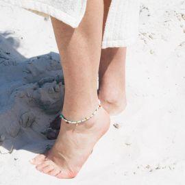 SUMMER bracelet de cheville ajustable turquoise - Olivolga