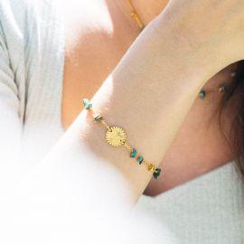 "MAGDALENA bracelet médaillon ""love/coeur"" turquoise - Olivolga"