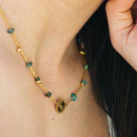 "MAGDALENA collier médaillon ""love/coeur"" turquoise - Olivolga"