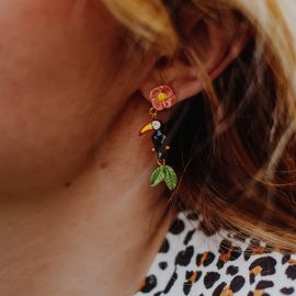 Toucan, Flowers and Leaves earrings - Nach