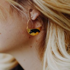 Black Panther on Moon-Shaped earrings - Nach