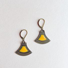 Boucles d'oreilles dormeuses Massai ambre - Amélie Blaise