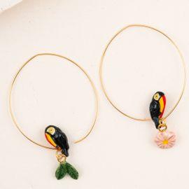 Boucles d'oreilles créoles toucan - Nach