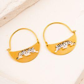 Leopard on Moon-Shaped earrings - Nach