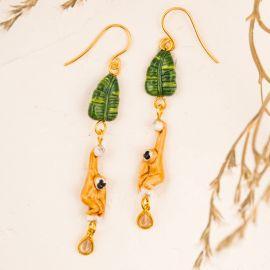 Gibbon&Leaves Pendant earrings - Nach