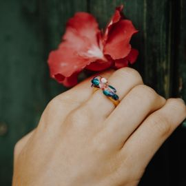 Pink parrot facetoface ring - Nach