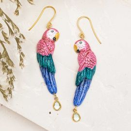 Pink parrot with pendant earrings - Nach