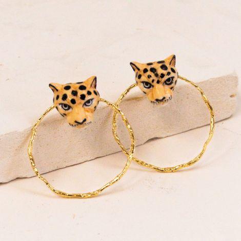 Boucles d'oeilles rondes tête de léopard