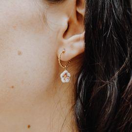 Single white flower mini earring - Nach