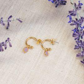 CONFETTIS boucles d'oreilles créoles lilas - Olivolga Bijoux