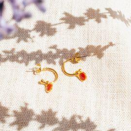 CONFETTIS boucles d'oreilles mini créoles tangerine - Olivolga Bijoux