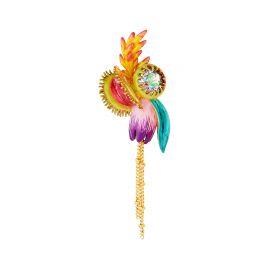 """Boucles d'oreilles fleur tropicales et pierre de verre facetté """"Rêves d' Orchidées"""" - Les Néreides"""