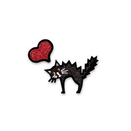 Iron-on patch heart and cat - Macon & Lesquoy