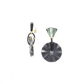 clip earrings wood and black lip Andalousie - Nature Bijoux