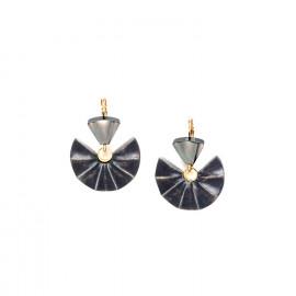 earrings 2 elements black lip and wood Andalousie - Nature Bijoux