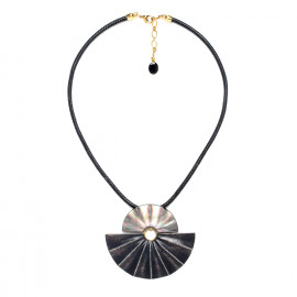large necklace black lip and wood Andalousie - Nature Bijoux