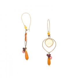 hook earrings with golden capiz and jasper Gardenia - Nature Bijoux