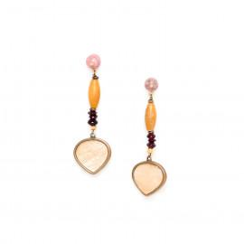 earrings capiz with rhodonite top Gardenia - Nature Bijoux