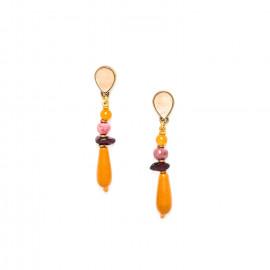 jasper and garnet earrings with golden capiz top Gardenia - Nature Bijoux