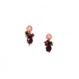 small earrings garnet and rhodonite Gardenia - Nature Bijoux