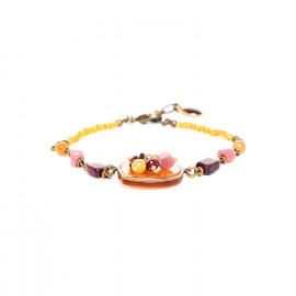 bracelet golden capiz with garnet jasper and rhodonite dangles Gardenia - Nature Bijoux