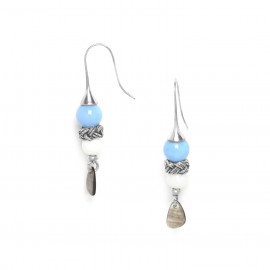 hook earrings 3 elements black lip chalcedony and calcite Les calanques - Nature Bijoux