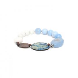 bracelet stretch black lip chalcedony and calcite Les calanques - Nature Bijoux