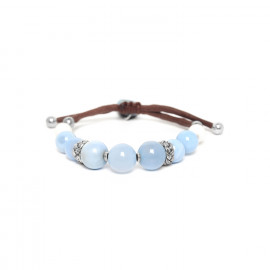 macrame bracelet chalcedony and calcite beads Les calanques - Nature Bijoux