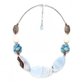 necklace with large chalcedony oval beads Les calanques - Nature Bijoux